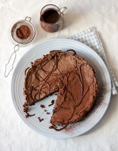 Chocolate truffle amaretti cake with espresso glaze