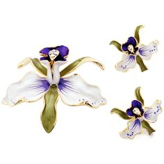 White Orchid Swarovski Crystal Flower Pin Brooch And Earrings Gift Set - Fantasyard Costume Jewelry & Accessories