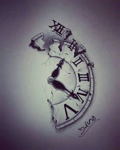 I want something like this without the broke piece at the top with 'time is nothing' going along the jagged edge on my forearm is part of Time tattoos - Bild Tattoos, Neue Tattoos, Body Art Tattoos, Sleeve Tattoos, Tatoos, Lines Tattoo, 1 Tattoo, Lost Tattoo, Tattoo Shading