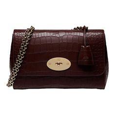 Buy Mulberry Lily Deep Embossed Croc Print Medium Shoulder Bag, Oxblood Online at johnlewis.com