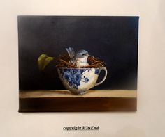 Teacup Nest painting RESERVED original still life Blue by 4WitsEnd