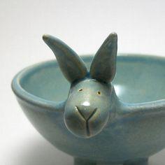 Ceramic Bunny Bowl in Robin's Egg Blue by Adrienne Speer