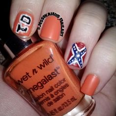 Dukes of Hazzard nails. Karla I have been thinking about doing these. I did do confederate flags on my toes furring the summer. These would be inapropriate at school though.