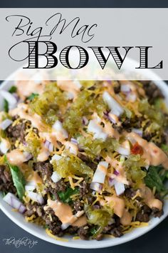 Big Mac Bowl Recipe - - You don't have to give up your favorite American guilty pleasure just because you are trying to eat healthy. Give these Big Mac Bowl a try! Homemade Big Mac Sauce, Big Mac Sauce Recipe, Mac Salad Recipe, Paleo Salad Recipes, Beef Recipes, Cooking Recipes, Healthy Recipes, Cooking Rice, Recipe Recipe