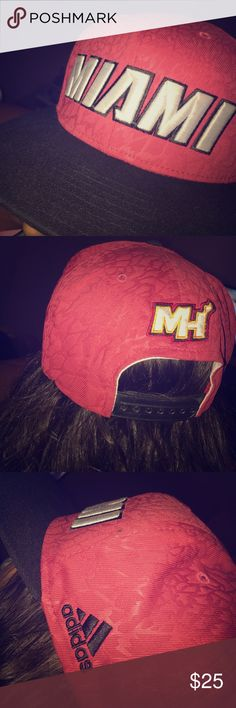 Miami Heat hat Red and black detailed designed Cap. Large white letters across saying 'MIAMI' by adidas adidas Accessories Hats