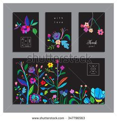 Collection of unusual cards with flowers. Beautiful freehand colorful illustration. Design for poster, card, invitation, placard, brochure, flyer. Isolated