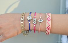 Use colorful knotting cord and rhinestones to make these stacking bracelets.