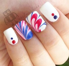 Get a marbled design of the colors of the flag. Plus little dots on a plain white nail isn't really that bad. It's perfect for any occasion actually.