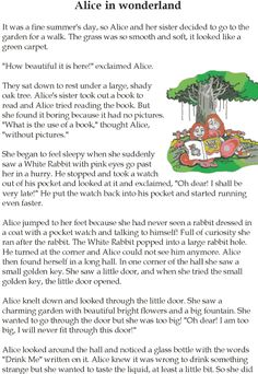 Grade 5 Reading Lesson 13 Fantasy - Alice In Wonderland Small English Story, English Moral Stories, Short Moral Stories, English Stories For Kids, Moral Stories For Kids, Short Stories For Kids, Free Reading Comprehension Worksheets, Phonics Reading, English Reading