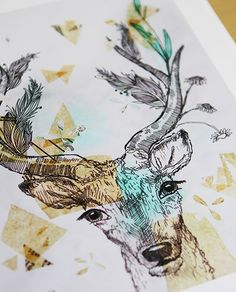 Deer Illustration Drawing Art Print Antlers Original Watercolor Painting by Sail…