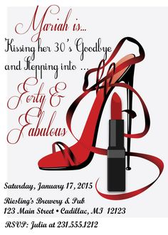Red Hot Forty & Fabulous Birthday Invitation by FabPartyPrints