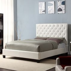 @Overstock.com - Set includes: One headboard, one footboard, one set of rails, platform slats  Materials: Wood frame covered with vinyl    Finish: Black    http://www.overstock.com/Home-Garden/Sophie-White-Vinyl-Tufted-Full-size-Platform-Bed/6159640/product.html?CID=214117 $385.99