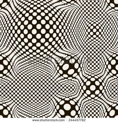Vector seamless pattern. Modern distorted texture. Stylish abstract background. Dotted grid with visual effect of swollen. Monochrome illustration with optic illusion