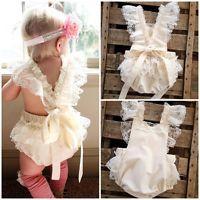 Newborn Baby Girls Floral Bodysuit Lace Ruffle Romper Jumpsuit Sunsuit Clothes