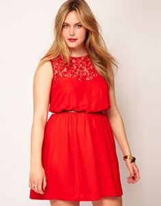ASOS CURVE Skater Dress With Lace Back  $66.28        This plus size dress by ASOS CURVE has been crafted from a lightweight chiffon. The details include: a high neck, sleeveless styling, a lace panel to the chest, a high, gathered waist, soft pleating to the skirt and a button fastening and cut-out insert to the reverse. The dress has been cut with a fluid fit