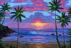 Sunset Beach Hawaii | Painting #162 Hawaiian Beach Sunset . Original acrylic painting on ...