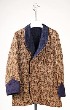Smoking jacketDate: 1860s Culture: American or European Medium: wool, silk
