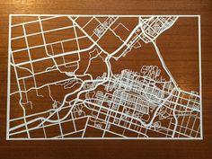 Paper cut map of Hamilton ON streets by CUTdesignsrt Custom Mats, Fun Shots, Paper Cutting, Hamilton, Maps, Custom Design, My Etsy Shop, Frame, Custom Rugs