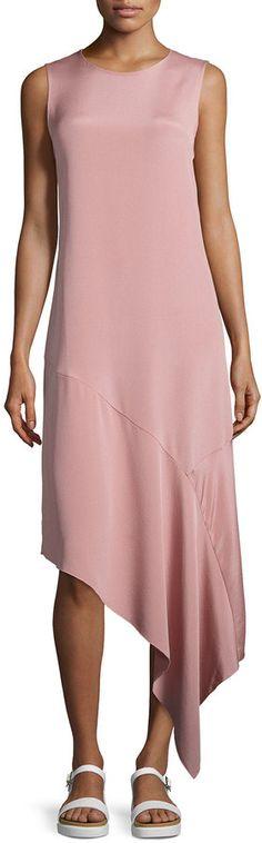 Joseph Lark Asymmetric Silk Crepe Dress, Blush - $645.00