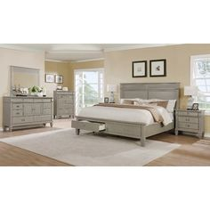 Beachcrest Home Vasilikos Gray Solid Wood Construction Platform 5 Piece Bedroom Set Size: Queen