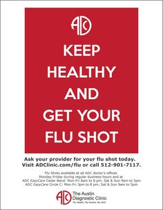 September begins Flu Season! The CDC recommends everyone over the age of 6 months to get their flu shot.  So Keep Healthy and Get Your Flu Shot!