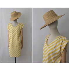 Sous le soleil 1980s yellow stripes cotton dress/ vintage