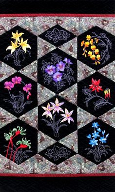 Hexagon Australian Wildflowers Quilt