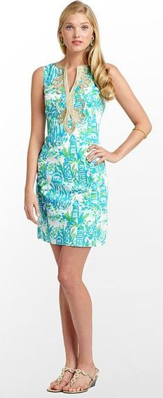 Janice Dress in Turquoise High Beams