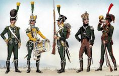 The Kingdom of Westphalia-from left to right: jegrów Royal Guard battalion carabiniere, 1808, drummer jegrów 1811 Guard, Guard jegrów 1811, Captain jegrów-Carabinieri 1809, Cornet election company jegrów-Carabinieri 1812 Fig. E. Wagner.