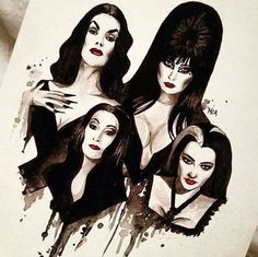 Watercolour painting of Glamour Ghouls ,Elvira,Vampira,Lily Munster and Morticia Addams. By Marie-Christine.
