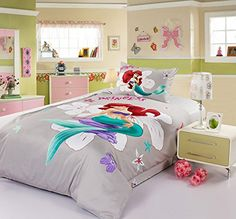 Sisbay Little Mermaid Princess Bedding,Sea-maid Girls Cartoon Print Duvet Cover,Kids Full Size Bed Fitted Sheet,4PC