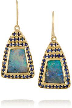 Brooke Gregson | 18-karat gold, boulder opal and sapphire earrings #opals #opalsau #opalsaustralia