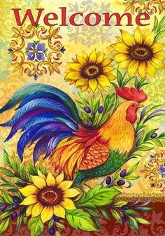 Rooster and Sunflowers. by Elena Vladykina | Ruth Levison Design