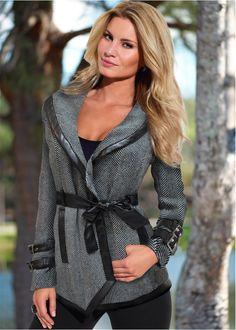 Casaco preto/branco encomendar agora na loja on-line bonprix.de  R$ 239,00 a partir de Casaco de manga longa transpassado com faixa em couro sintético. ...