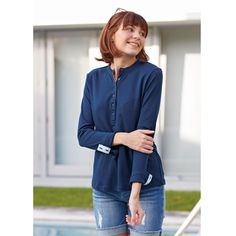 Button-Front Pima Top at The Company Store - Apparel - Summer Apparel - M 3a89d1caf