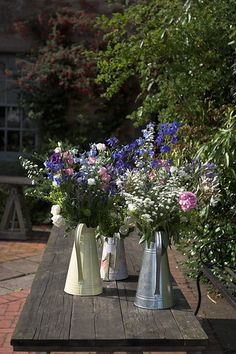 look gorgeous with mixed flowers! Blue Wedding Flowers, Wedding Flower Arrangements, Rainbow Garden, Table Dressing, Milk Jugs, Wedding Table Decorations, Hollyhock, French Wedding, Container Flowers