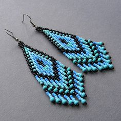 Black Blue and Turquoise Native American Style  by Anabel27shop,   #beadwork