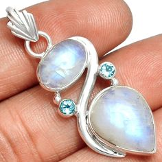 Moonstone & Blue Topaz 925 Sterling Silver Pendant Jewelry SP208494 #XTREMEGEMS