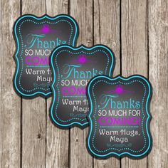 Frozen Party Favors - Chalkboard Favor Tags - Frozen Birthday Party - DIY Printable