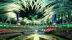 Fireworks explode over the Olympic Stadium towards the end of the Closing Ceremony