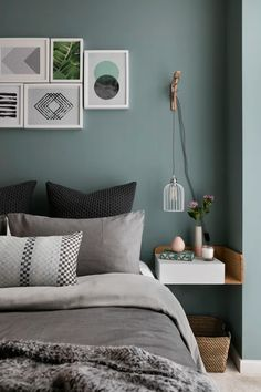 Gray and Sage Green Bedroom. Gray and Sage Green Bedroom. Gray and Sage Green Bedroom Gray and Sage Green Bedroom Green Bedroom Design, Sage Green Bedroom, Gray Bedroom, Trendy Bedroom, Modern Bedroom, Bedroom Designs, Bedroom Loft, Green Bedrooms, Bedroom Suites
