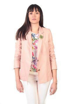 Three-Quarter Sleeve Pink Jacket.