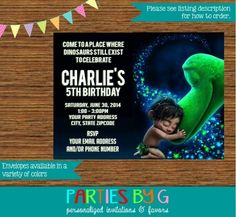 The Good Dinosaur Birthday Party Invitations Personalized