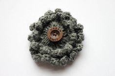 Grey Knitted Flower Brooch