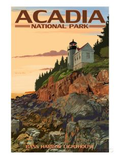 Acadia National Park, Maine - Bass Harbor Lighthouse Art by Lantern Press at AllPosters.com