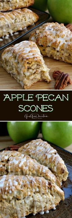 Apple Pecan Scones are full of chopped pecans and bits of apple chunks, then drizzled with glaze.These Apple Pecan Scones are full of chopped pecans and bits of apple chunks, then drizzled with glaze. Apple Recipes, Sweet Recipes, Fall Recipes, Brunch Recipes, Breakfast Recipes, Dessert Recipes, Scone Recipes, Breakfast Pastries, Breakfast Items
