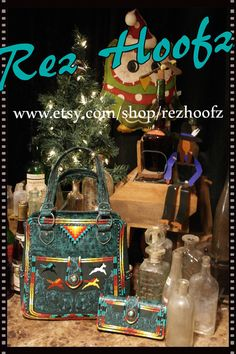 Hand Painted Purse & wallet set  By  Rez Hoofz   One by REZHOOFZ