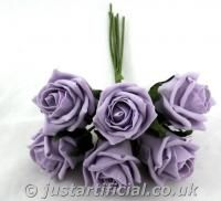 Artificial Colourfast Rose Bud Bunch - Image Caption: our artificial Cottage Rose Bud Bunch in Ice Lilac colour  To complement the plum? Also comes in aubergine if email