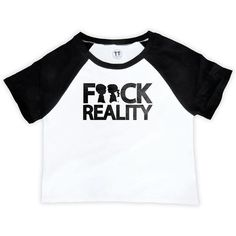 Fuck Reality Raglan Crop Top ($42) ❤ liked on Polyvore featuring tops, raglan top, cropped tops, white crop top, cut-out crop tops and raglan sleeve top