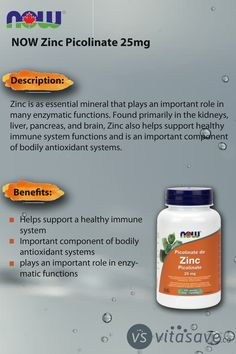 Zinc Picolinate helps support a healthy immune system. Immune System, Beauty Care, Natural Health, Benefit, Vitamins, Medicine, Healthy